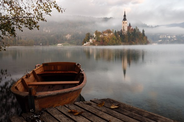 church on lake
